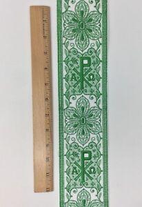 Vintage-Vestment-Verde-Cruz-en-Blanco-8-3cm-Banda-Vendido-por-Patio