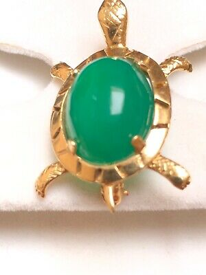 Sea Turtle Scarab Jade Green Stone Gold Vermeil Brooch Pin Vintage Sterling Silver Articulated Pendant