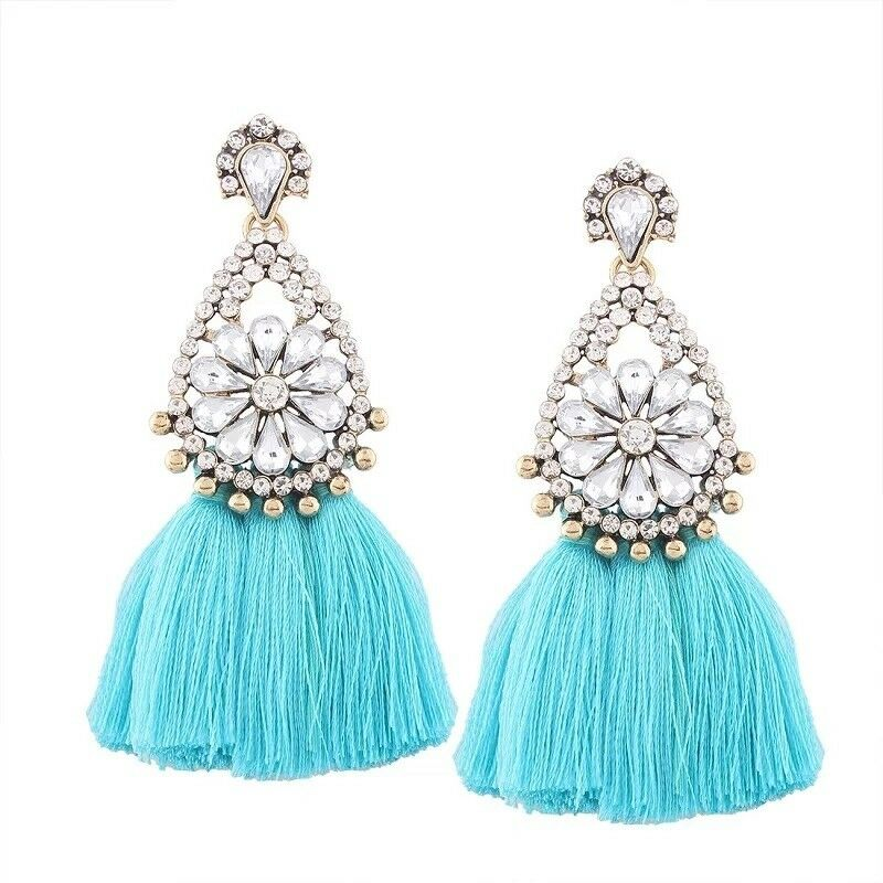 Big Statement Tassel Flower Diamante Crystal Earrings Uk