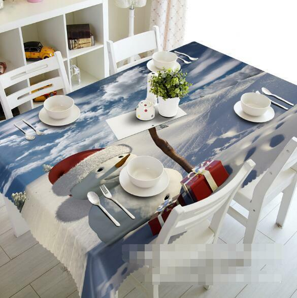 3D Snowman Gifts Tablecloth Table Cover Cloth Birthday Party Event AJ WALLPAPER
