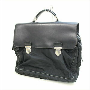 ae63191e8c71 Image is loading PRADA-nylon-switching-leather-briefcase-business-bag