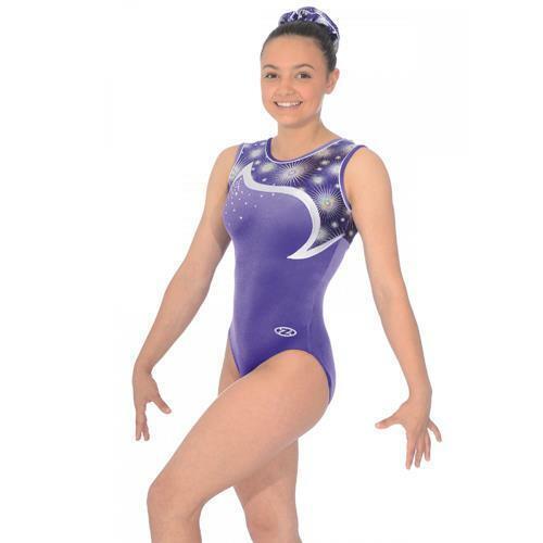 VENTE!! fille gymnastique zone Leotard-Zodiac Prune Sans Manche Justaucorps Z407