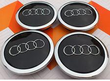 4 x ALLOY WHEEL CENTER HUB CAPS 69mm  AUDI BLACK  S3 S4 A3 A4 A6 A8 TT RS4 Q5 Q7