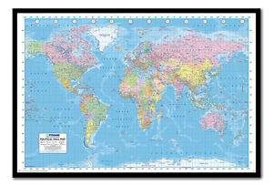 Framed political world map poster ready to hang choice of frame image is loading framed political world map poster ready to hang gumiabroncs Choice Image
