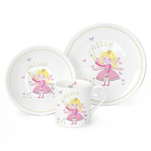 Image is loading Personalised-Childrens-Breakfast-3-Piece-Plate-Bowl-Mug-  sc 1 st  eBay & Personalised Childrens Breakfast 3 Piece Plate Bowl Mug Fairy Kids ...