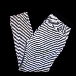 Zara Para Mujer Grande Azul Blanco Con Rayas Pantalones Frente Plano Informal Al Tobillo Recortado L Ebay