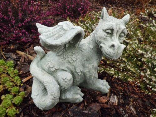 "Steinguss /""niedlicher Drachen/"" Skulpturen Gartendeko Gartenfiguren Steinfigur"
