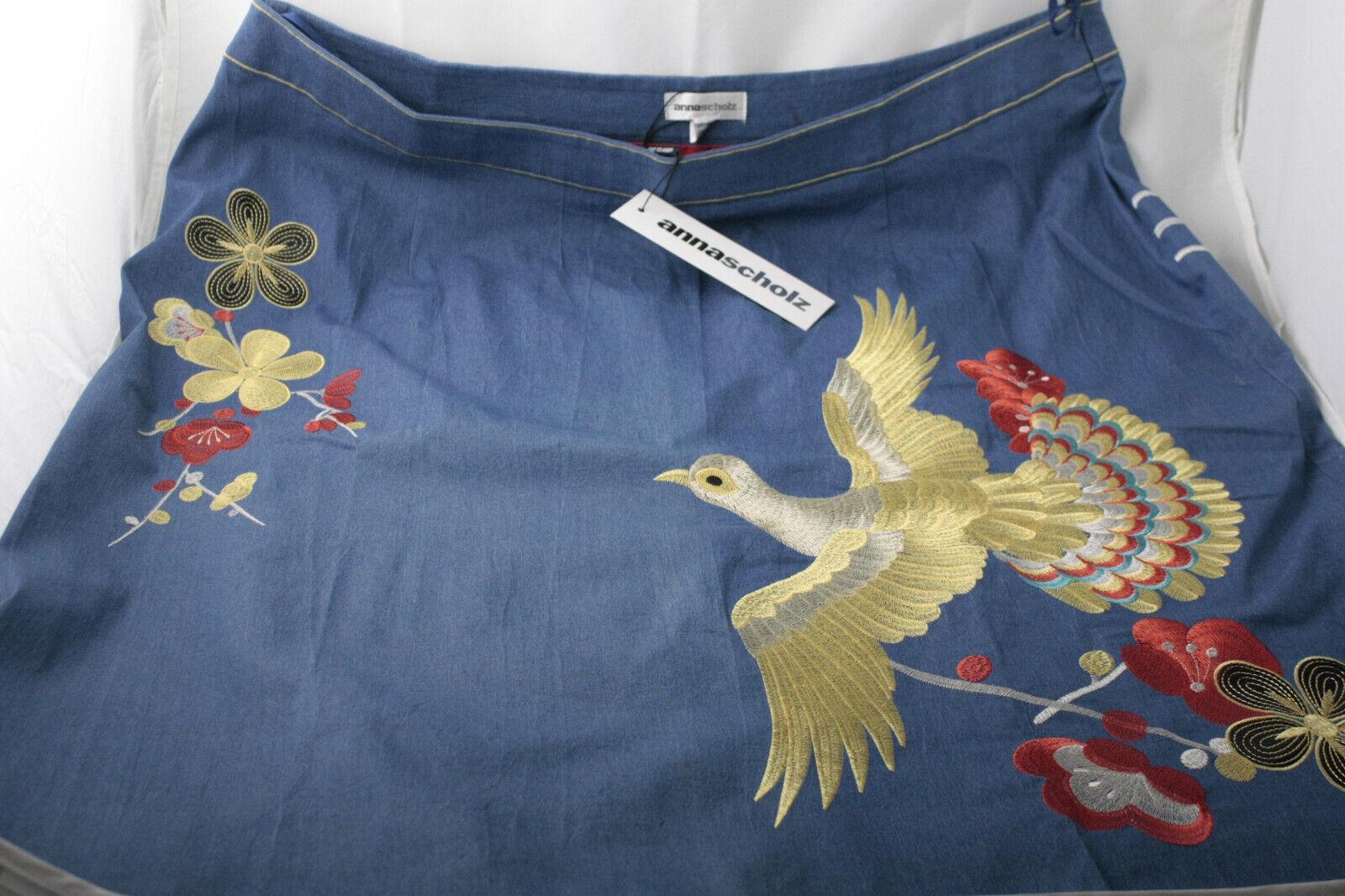 Anna Scholz plus Größe designer skirt BNWT Blau with exotic bird embroidery
