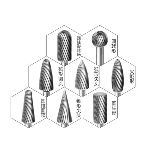 H Type Long Handle Tungsten Steel Solid Carbide Burrs Rotary Files Single Slot