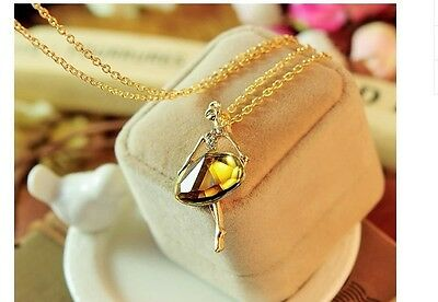 C- Crystal Coffee Stone Ballet Girl Pendant Necklace Gold Plated Sweater Chain