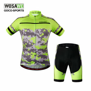 Men-039-s-Cycling-Bike-Jersey-Shorts-Set-Padded-Bicycle-Short-Sleeve-Shirt-MTB-Road