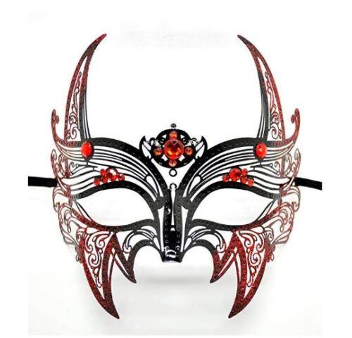 Wolverine Venetian Men/'s Black Masquerade Mask w// red Rhinestones /& Glitters