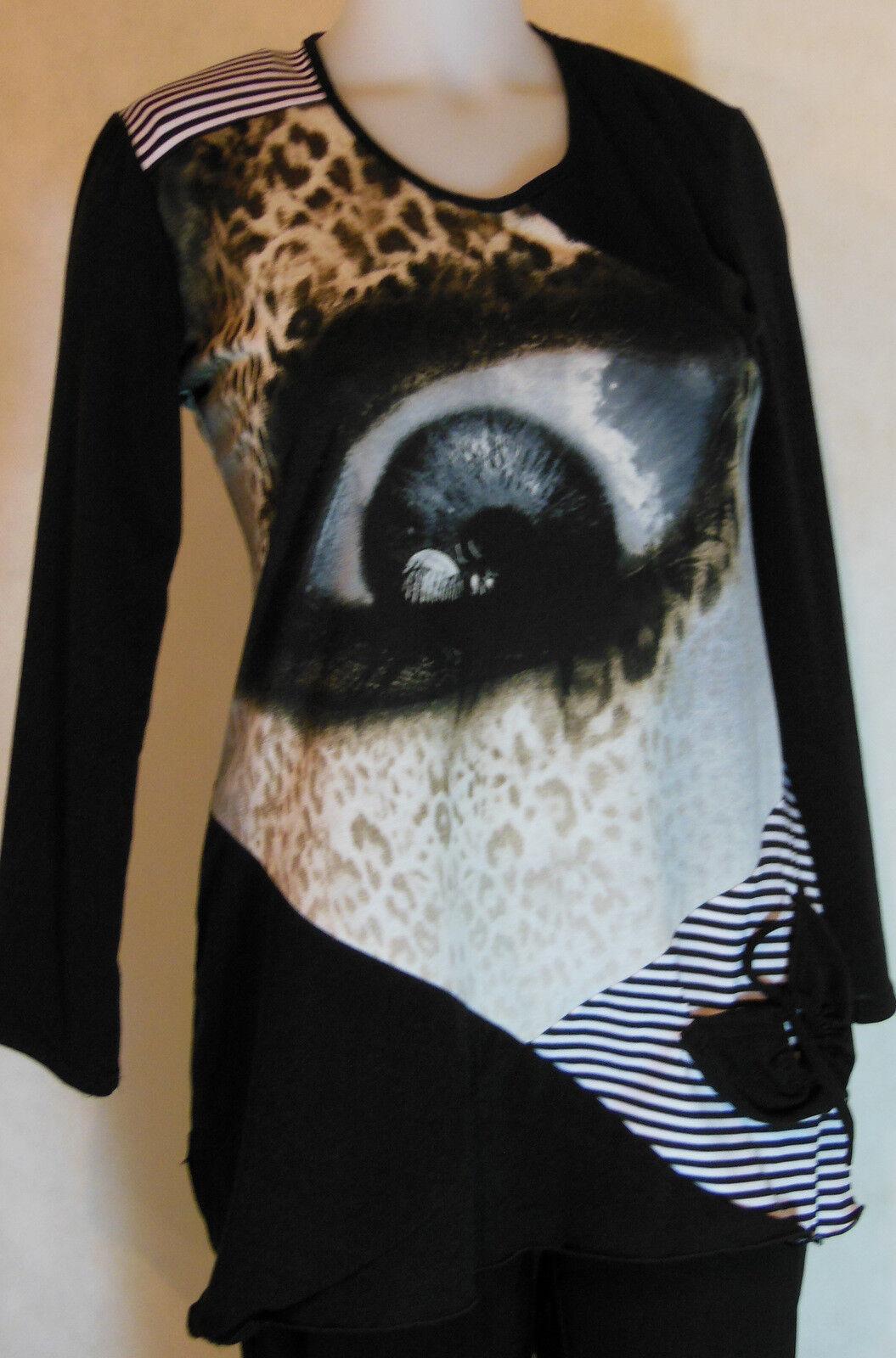 Tunika mit schönem Muster, locker fallend, schwarz-grundig