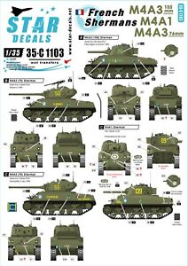 Star-Decals-1-35-M4A3-105mm-76mm-501e-RCC-12eme-CUIR-French-Shermans-2-35c1103