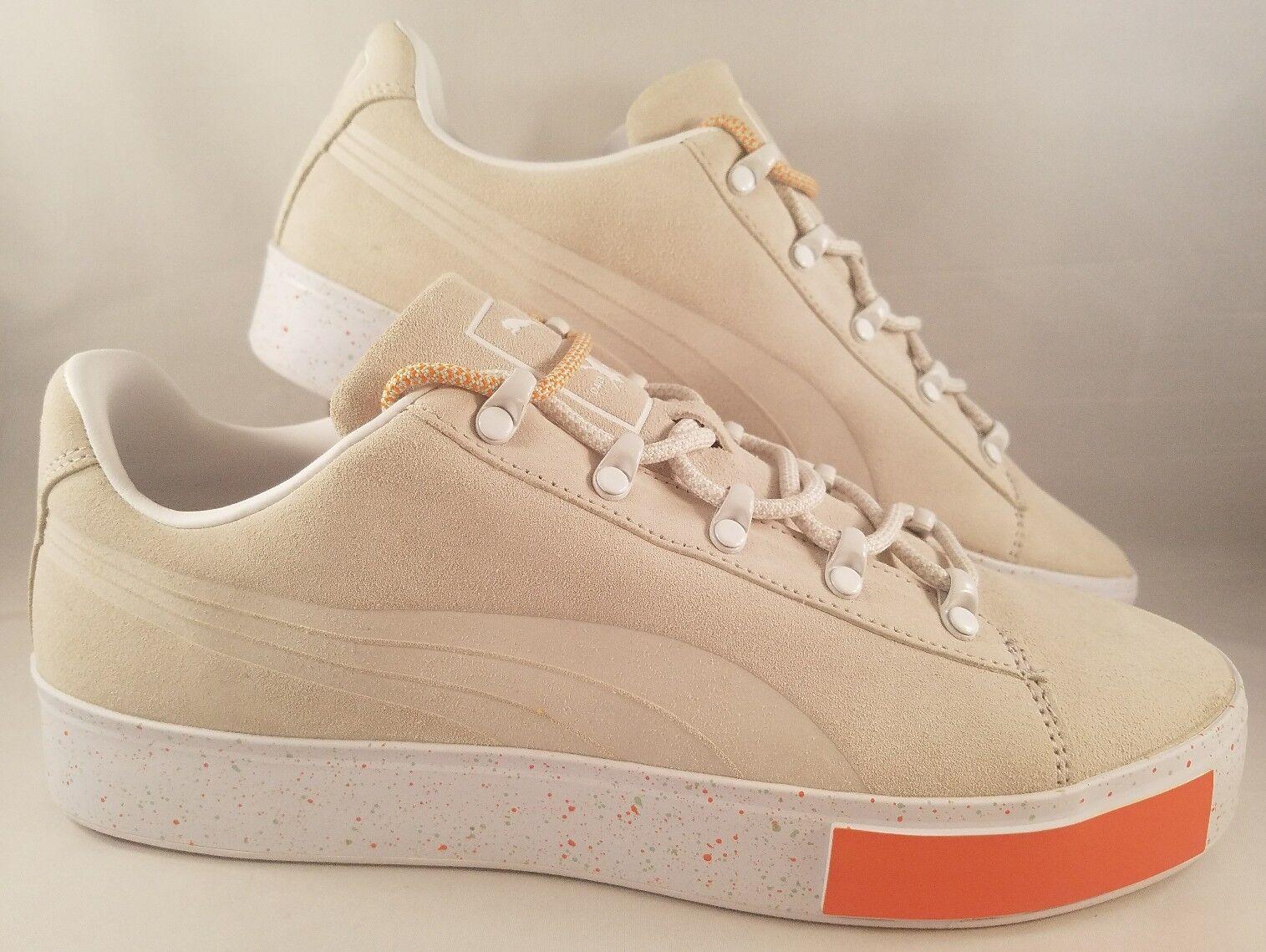 Puma Daily Paper Suede Shoes Men's Size 10 Cream White Orange Court Sneakers
