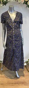 Wednesday's Girl Tea Dress Size 8 12 18 22 Black Floral Button Through Midi GU78