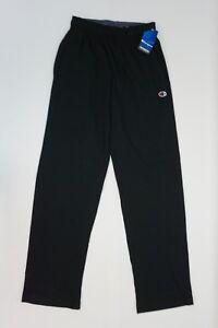 Champion-Mens-Pants-Pull-On-Elastic-Waist-Cotton-Jersey-Active-Pants-Black-S
