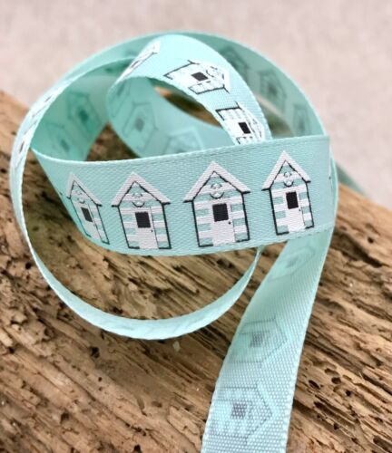 "Beach Hut Seagull Blue Pink Grey 5//8/"" Seaside Ribbon Summer Holiday Trim"