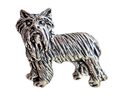 Terrier Dog Pewter Pin Badge