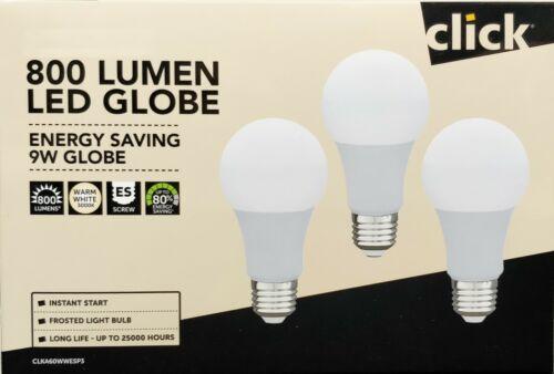 6 x 9W LED Light Globes Bulbs Lamps A60 GLS Warm White 3000K E27 Screw ES 800Lm