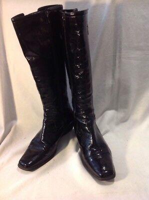 Señoras negras de cuero rodilla alta botas talla 38