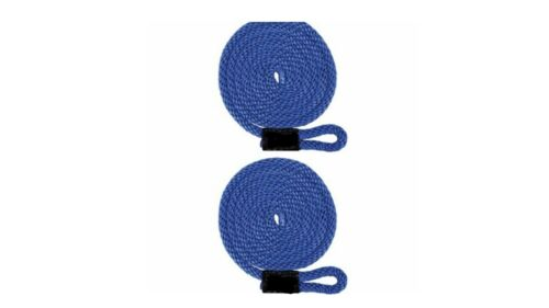 """BLUE 2-PACK 1//2/"""" X 5/' Double Braid Fender Lines // Non-Fading- UV Coated USA"""