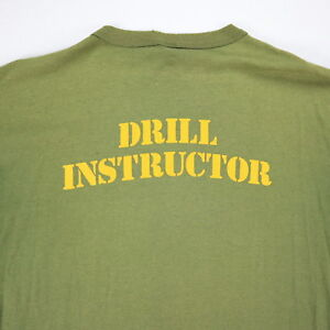 Vtg-Drill-Instructor-T-Shirt-Mens-S-M-Worn-Thin-Nicely-Faded-Distress-Grunge-USA