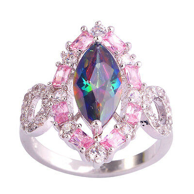 New Rainbow & Pink & White Topaz Gemstone Jewelry Silver Ring Size 6 7 8 9 10 11