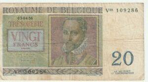 BELGIUM 20 FRANCS 1956 BANKNOTE