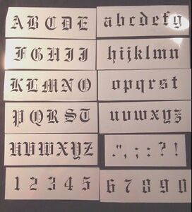 Details about painting STENCIL Old English font alphabet LETTERS and  NUMBERS incl Scandinavian