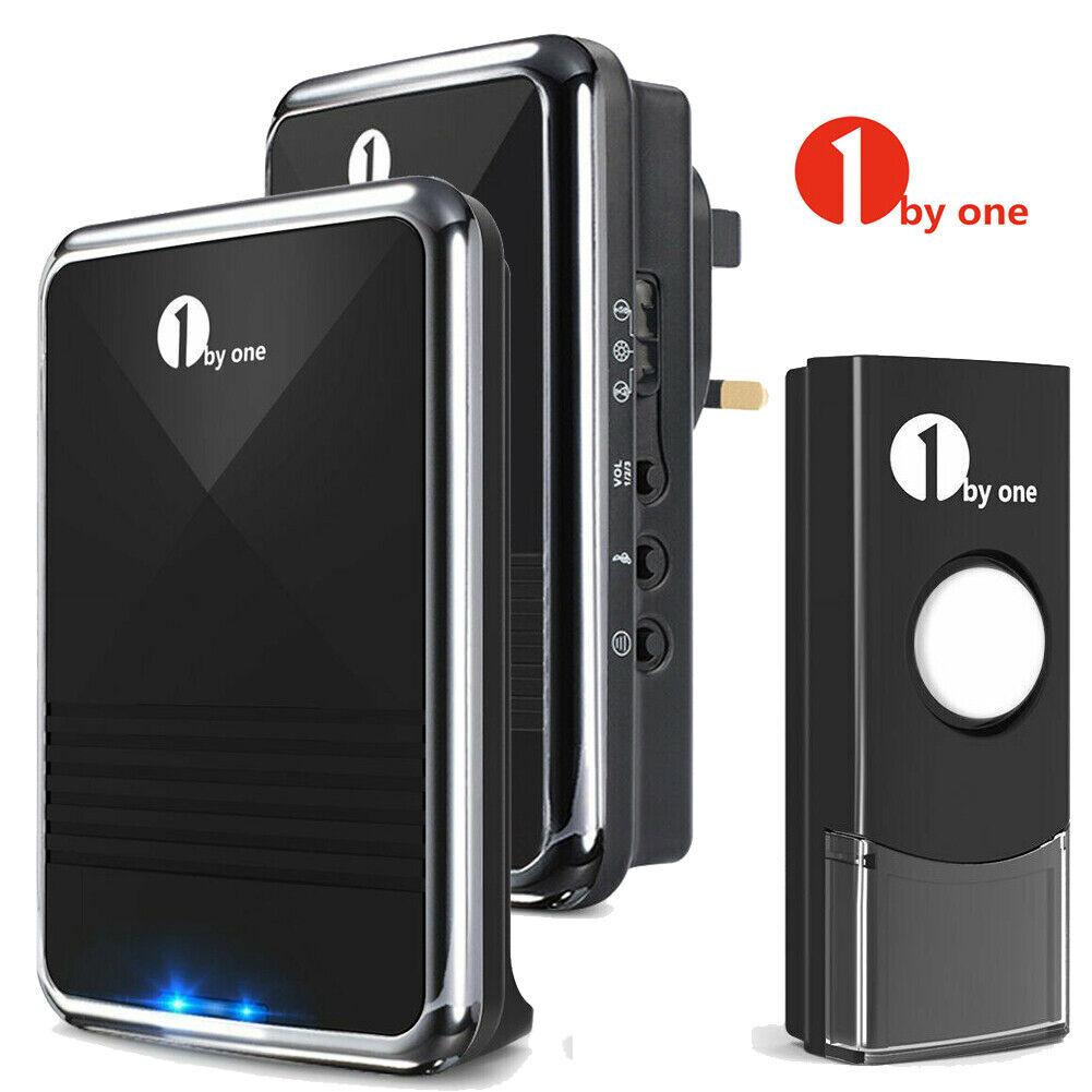 Best Cordless Door // 2 Plug in Waterproof Doorbell Kit Wireless Doorbell Grey