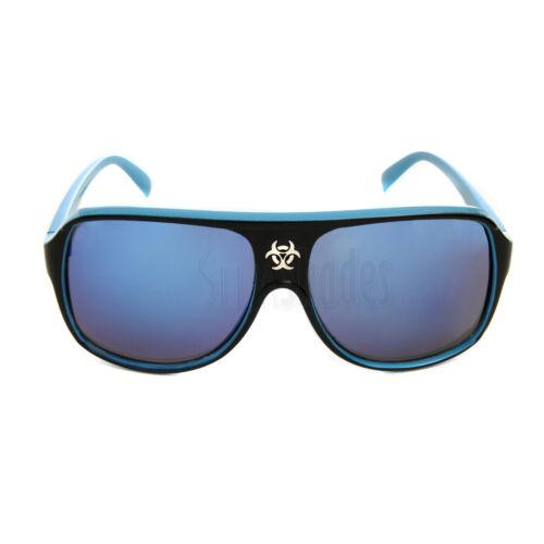 Biohazard Aviator Goggle Sunglasses Designer Glasses with Dark Mirror Lens