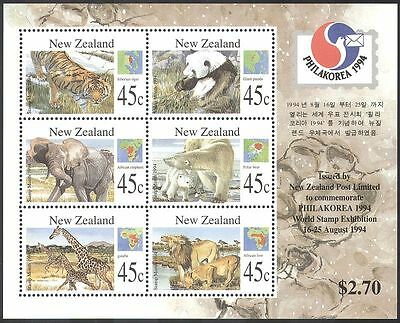 New Zealand 1994 Panda/Tiger/Giraffe/Polar Bear/Lion/Animals/Wildlife m/s b5971