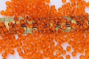 2-0-Old-Time-Vintage-Venetian-Trans-Orange-3-Glass-Seed-Beads-1oz