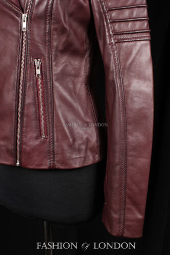 JENNER Ladies Real Leather Jacket Cherry Short Fitted Soft Jacket Biker Jacket