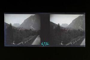 Suisse Saint-Gingolph 1931 Foto Stereo L6n4 Placca Da Lente Vintage Negativo