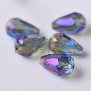 New-10pcs-18X12mm-Big-Teardrop-Faceted-Spacer-Loose-Glass-Beads-Blue-Colorized