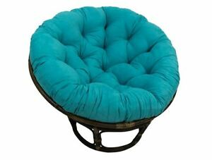 papasan cushion for round chair or oversized floor pillow aqua blue microsuede ebay. Black Bedroom Furniture Sets. Home Design Ideas