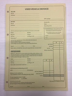 4 x Used car sales Invoice pad NCR 2 part A4 bike van vehicle car sales job lot