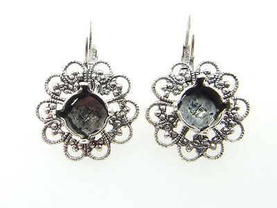 Filigree Empty Cup Chain Earrings Style 1 - 8.5mm 39ss 1 Pair - Choose Finish