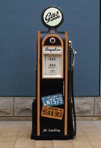 Tanksaeule-Zapfsaeule-Gasoline-Hoehe155cm-Dekoration-mit-beleuchtetem-Globe-Nr7