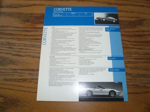 1991 Corvette Sales Features Advantages Options Trim Levels Information