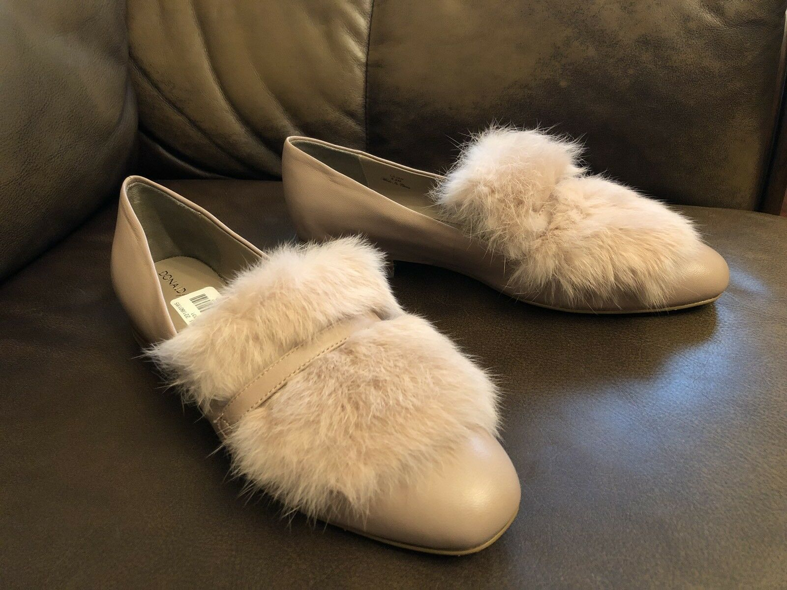 New Woman Donald J Piner LILIAN-08 Plush Lether Rabbit Fur Flats Loafers  228.00