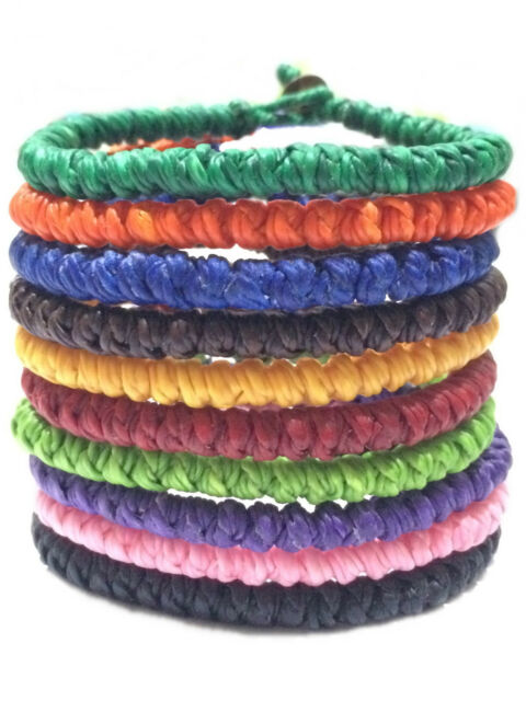 Knotted Wax Cotton Cord Thai Buddhist Wristband Classic Handcrafted Wristwear