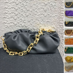Chunky Big Metal Chain Real Leather Ruched Clutch Shoulder Pouch Baguette Purse