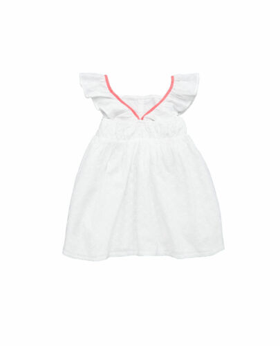 Girls Broderie Dress in White Pink Size 3-4 4-5 5-6 6-7 Yrs Free UK P/&P