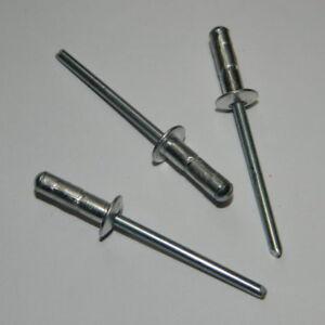 250 Blindnieten mit großem Kopf 4x14 K12   ALu//Stahl Großkopfnieten