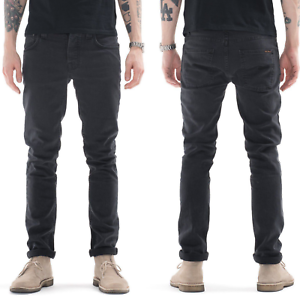 Nudie-Herren-Slim-Fit-Stretch-Jeans-Hose-Grim-Tim-Misty-Ridge-Grau-W28-L32