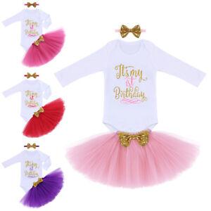 59a982390b91 Image is loading Newborn-Baby-Girl-1st-Birthday-Long-Sleeve-Romper-