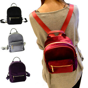 New-Bookbag-Women-Suede-Backpack-Zipper-Handbag-Mini-Satchel-travel-School-Bag